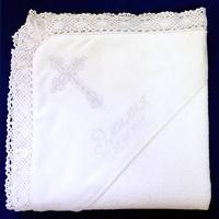 """Крижма """"Іменна"""" з білою вишивкою подвійна махра"""